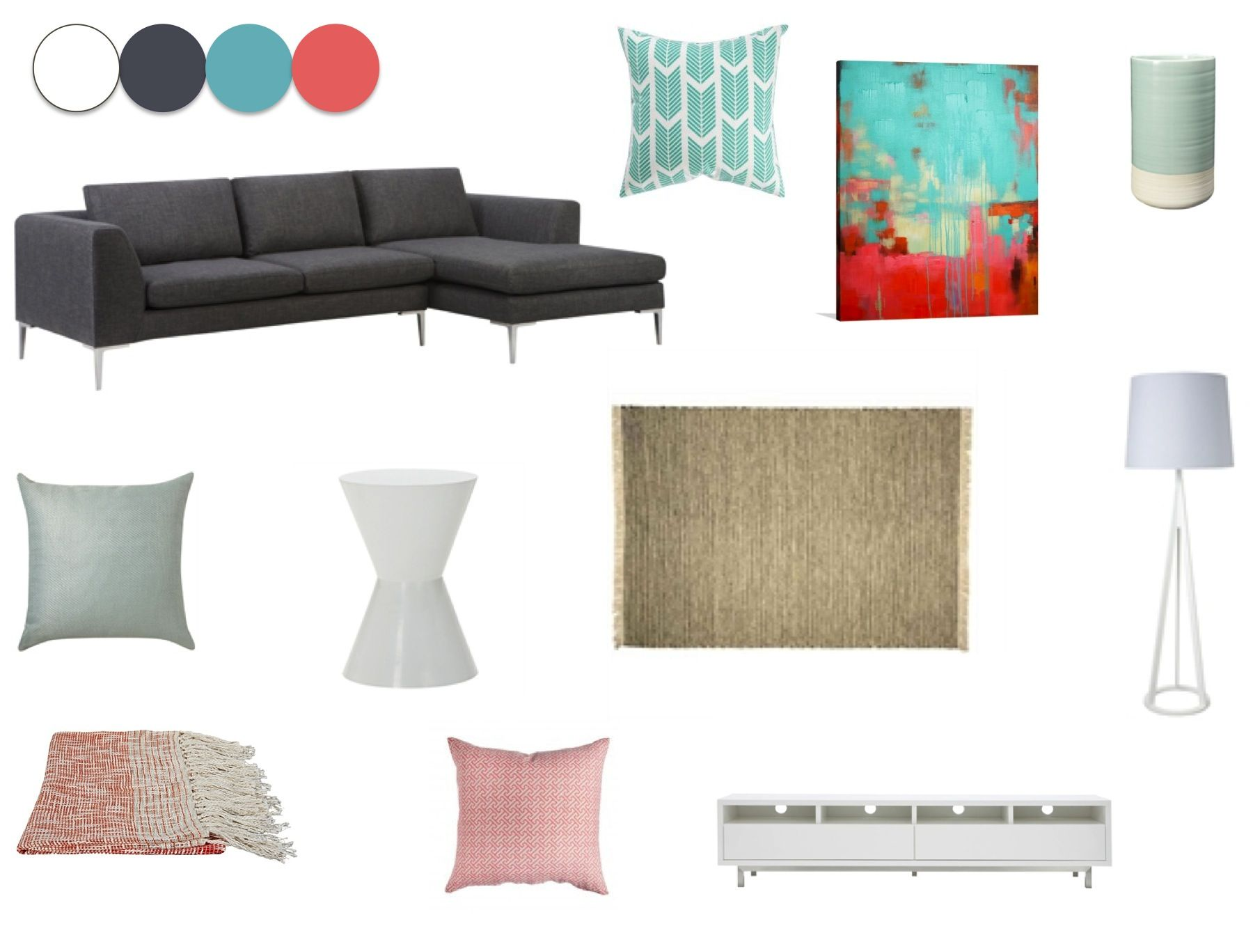 Living room option 2 - Aqua and coral