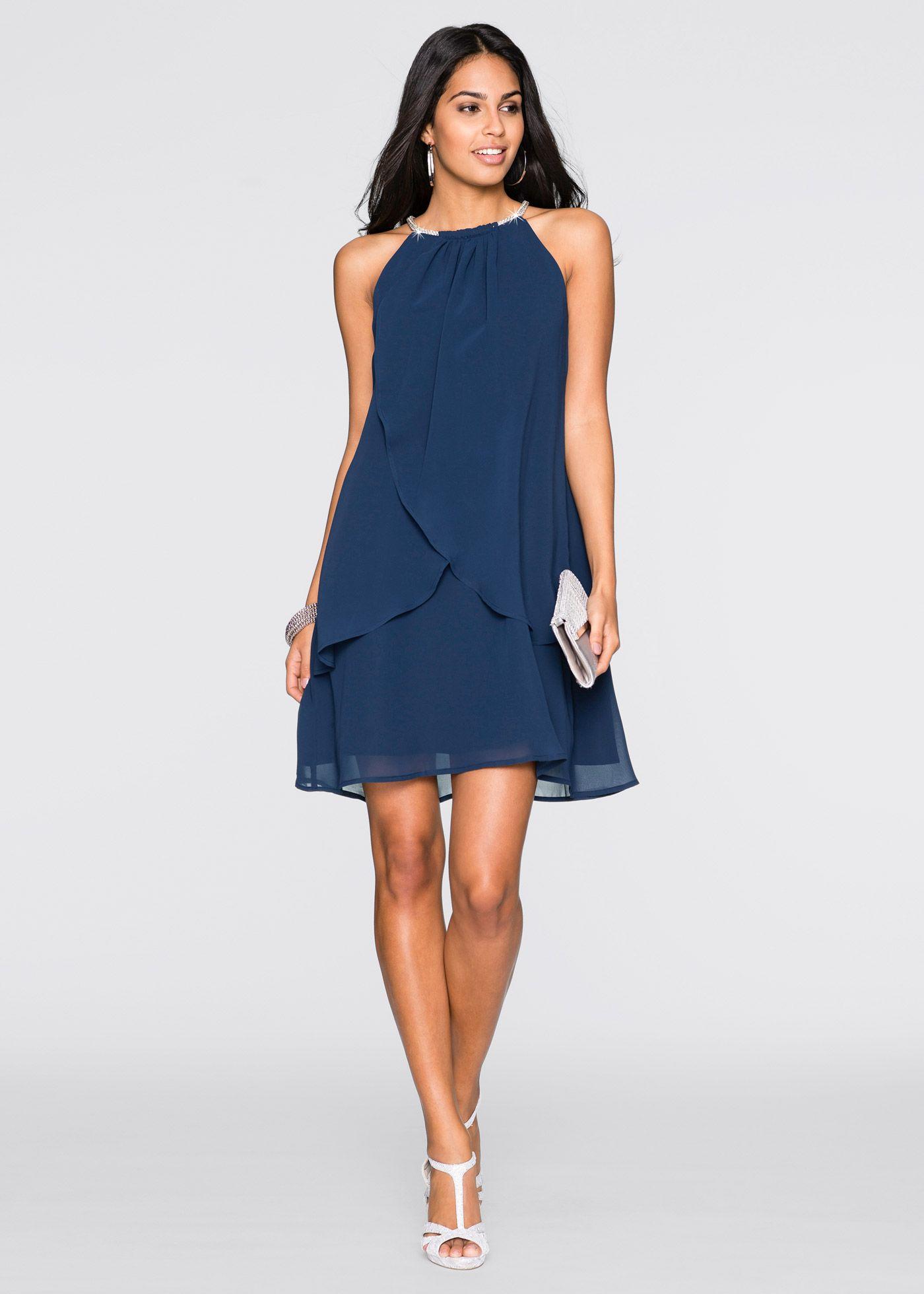 Robe en voile de chiffon avec collier bleu foncé - BODYFLIRT acheter online  - bonprix.fr d2ce561a27f9