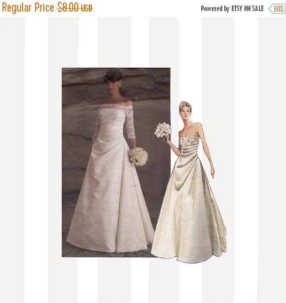 SALE Vogue Wedding Dress Sewing Pattern 2842 Strapless/Draped ...