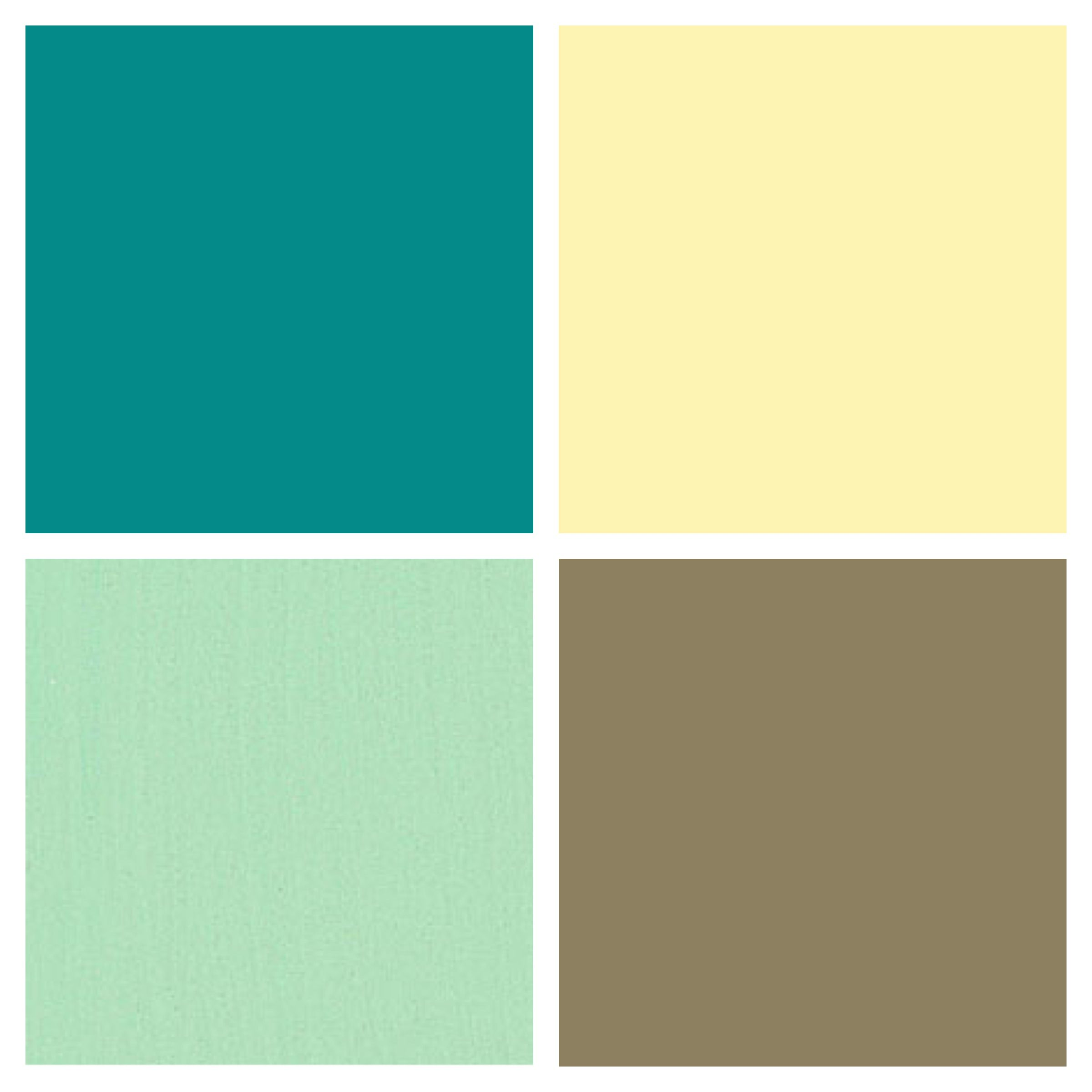 Kitchen color palette- butter / country yellow, mint / seafoam green, tan /