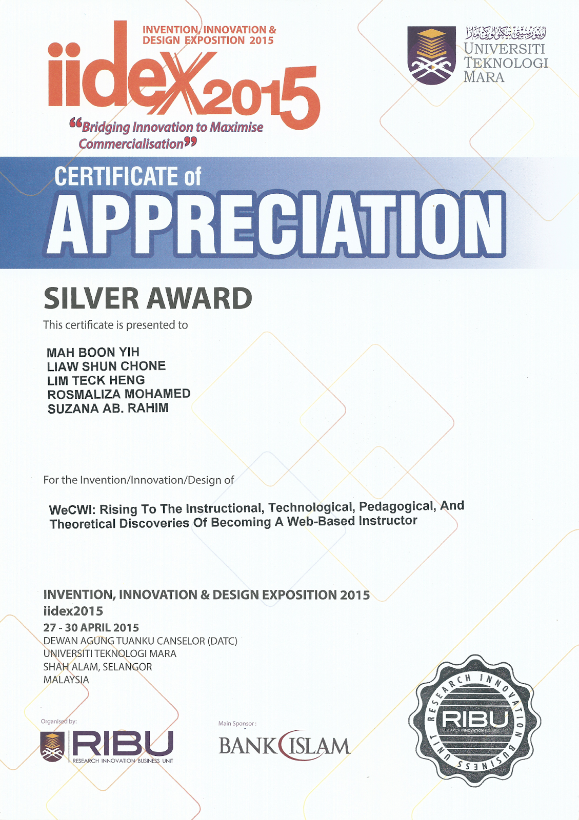 design for certificate of appreciation