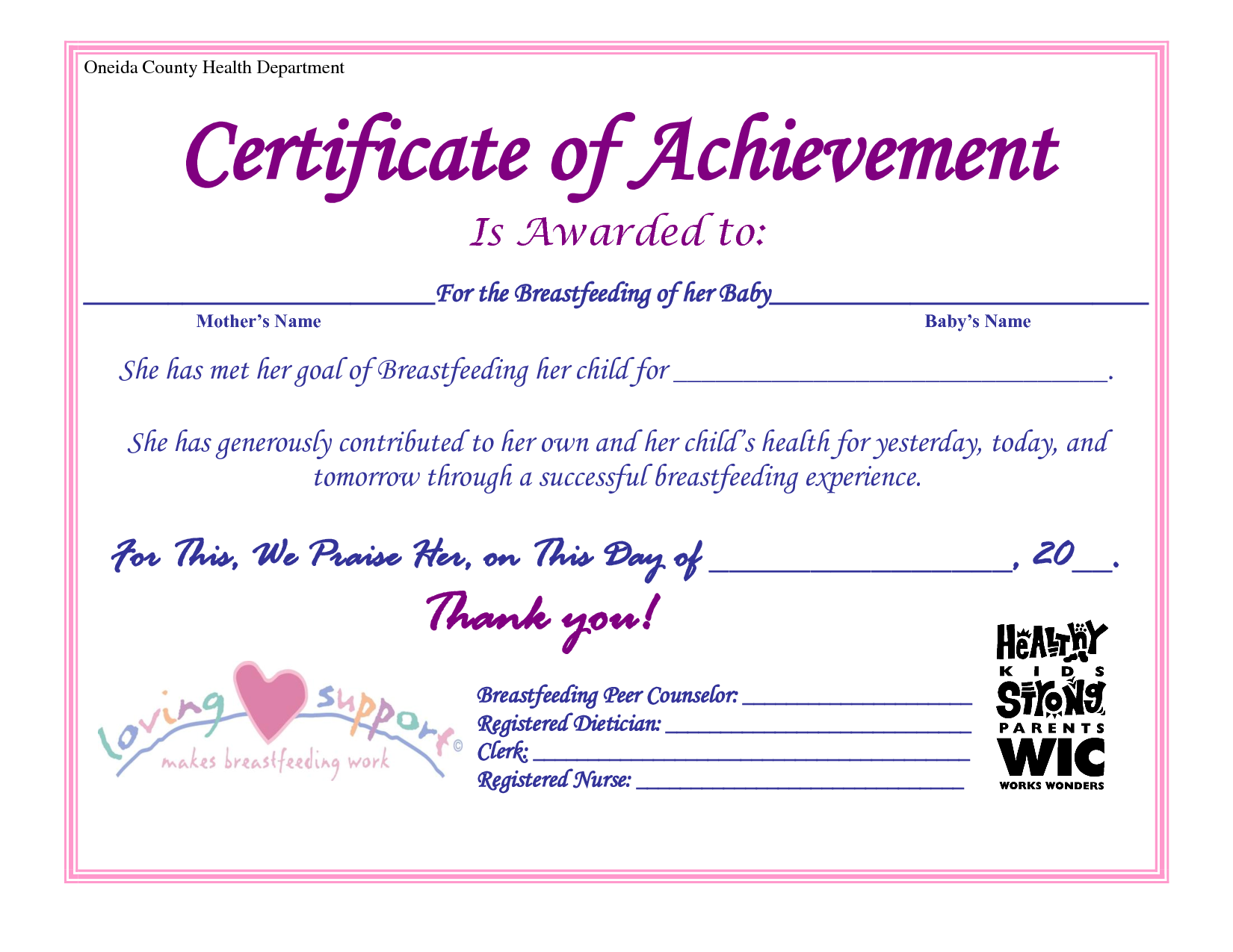 A Breastfeeding Certificate Awesome Breastfeeding Kids Health Health Department