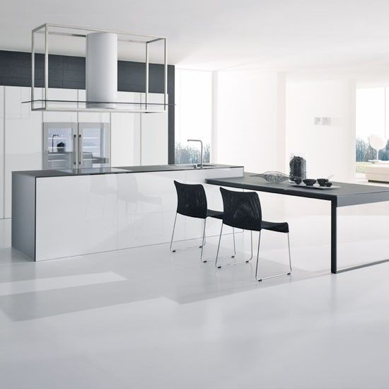 White kitchen with taupe walls white cabinetry, white island unit and black worktops