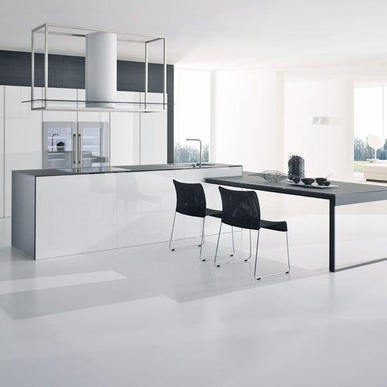 High End White Kitchen: Contemporary White Kitchen And Grey Floor
