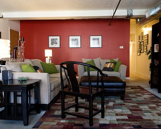 Red accent wall with black white and bright green - Red walls in living room ...