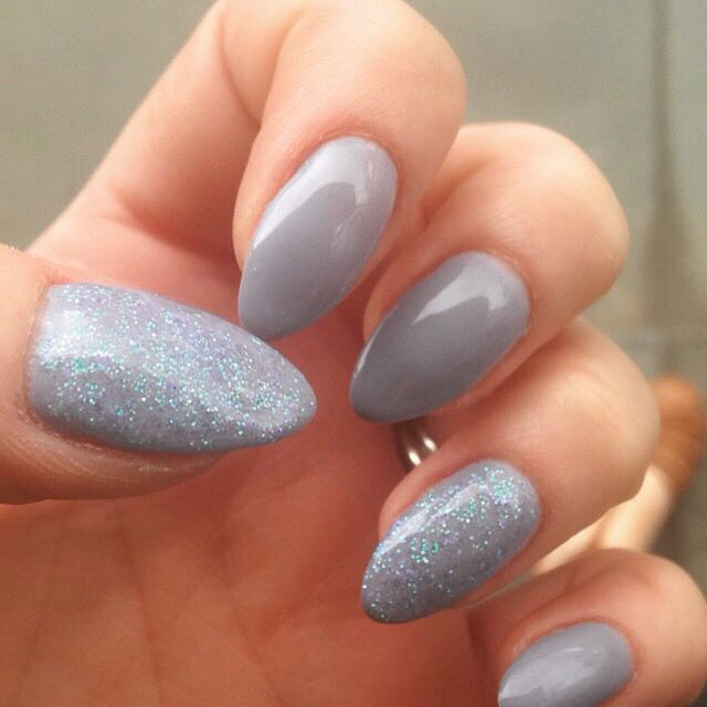 Stiletto Nails Grey Lilac Glitter Sparkle Biosculpture Natural Nail