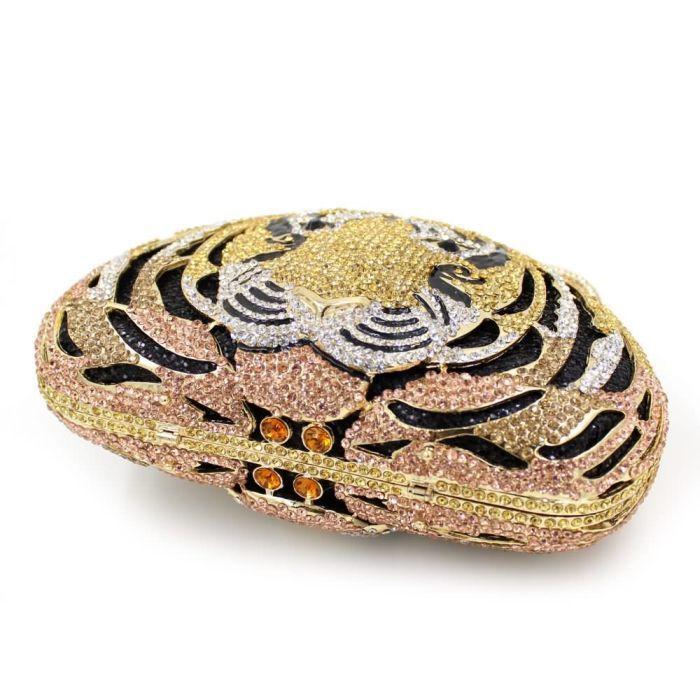 Animal Full Diamond Luxury Evening Bag Tiger Head Clutch Bag Women Diamante Wedding Purse Bags_2     https://www.lacekingdom.com/