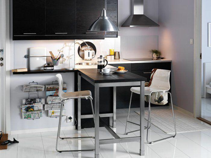 essecken einrichtung kleine küche weißer boden schwarze akzente ...