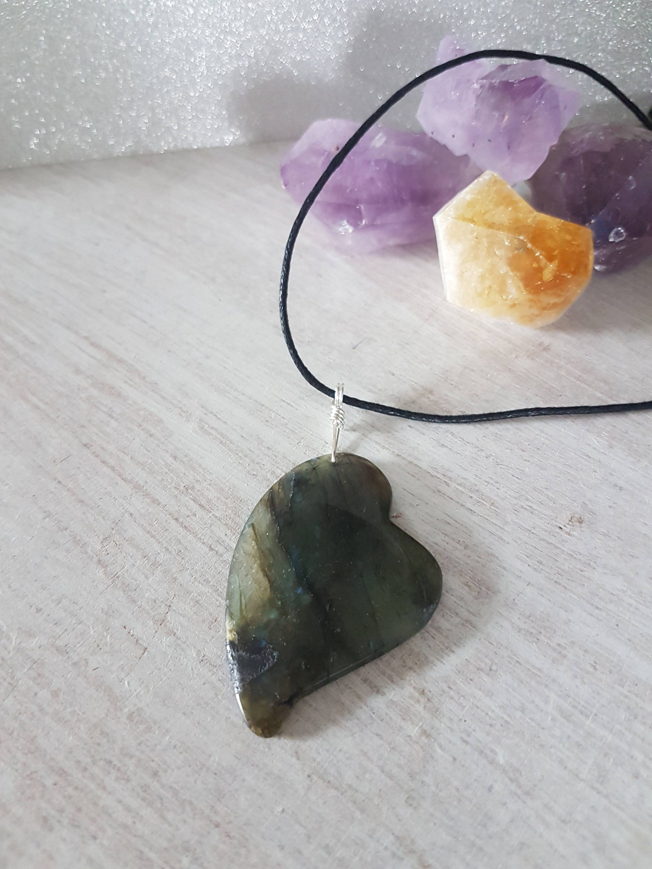 Labradorite heart necklace - healing stones and crystals - stone ...