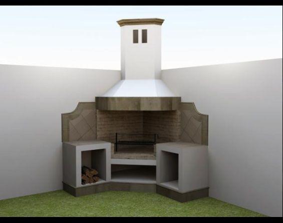 Asador exagonal patio pinterest asador jard n y - Matachispas para chimeneas ...