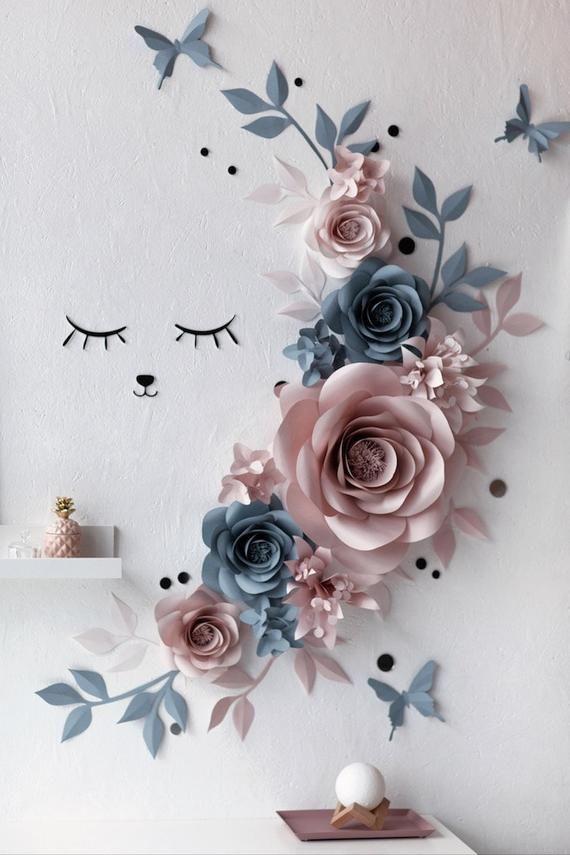 Wall Decor Paper Flowers Paper Flowers Wall Decor Sleepy | Etsy