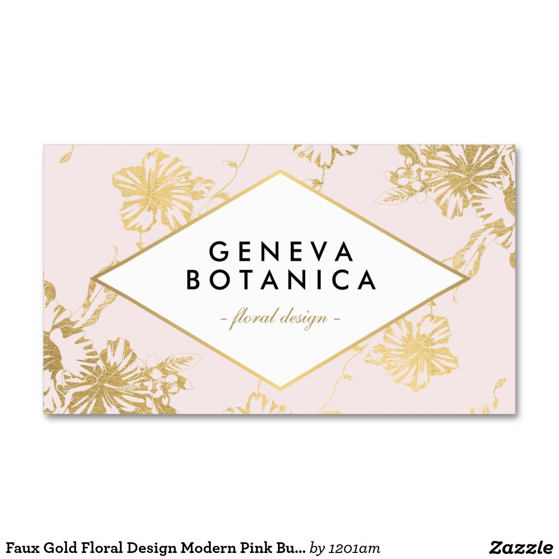 Faux Gold Floral Design Modern Pink Business Card for Event ...