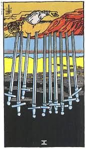 #Your #Tarot Card for #tomorrow #March 14, 2015 10 of Swords reverse....yikes? 10 of Swords reverse Mental and emotional strife or trouble that isn't ending or not coming to the ending you would like; or an unfortunate ending coming through to you from information, communicat...