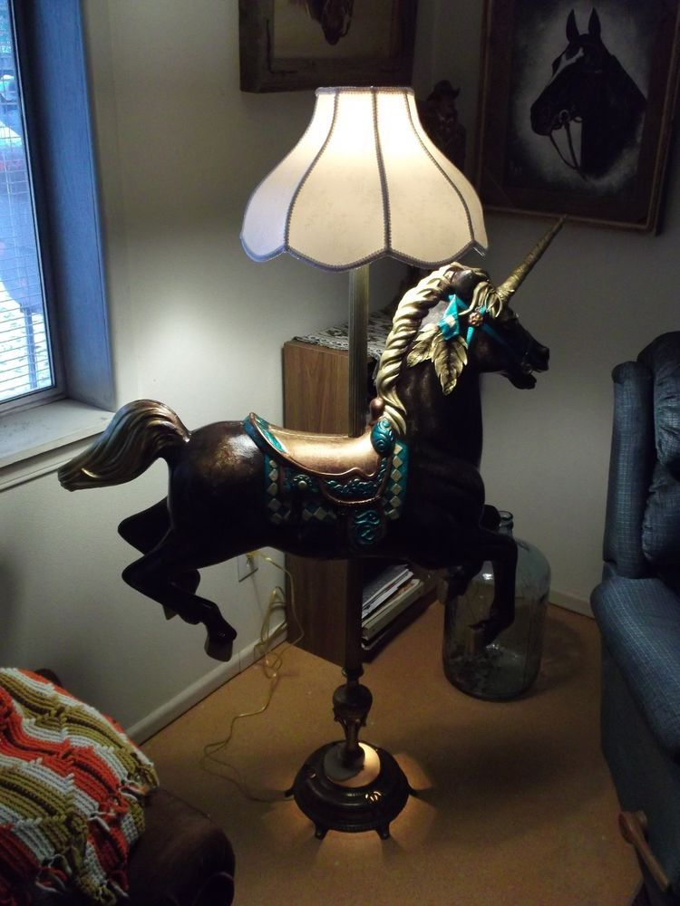Mid Size Carousel Unicorn Horse with Stand, pole, floor lamp ...