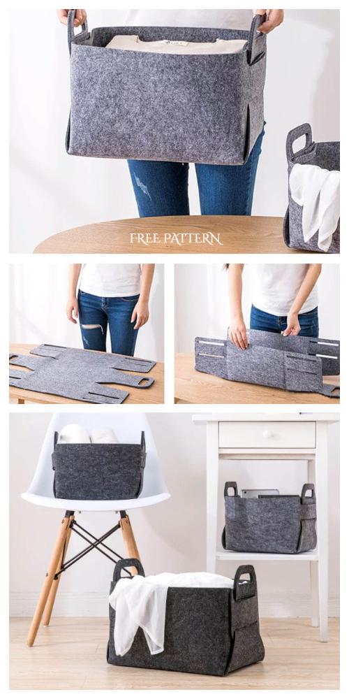DIY No Sew Felt Storage Basket Free Patterns | Fabric Art DIY -   diy Storage baskets