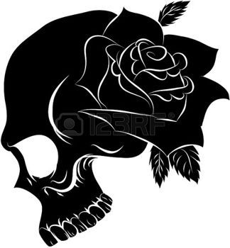 Pirate skull and one rose photo