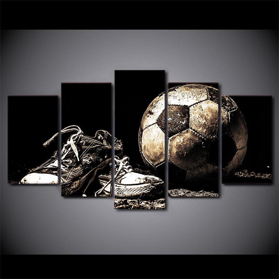 2f9bbcfc3 Soccer Ball Shoes Wall Art on Canvas Print Home DecorGreat wall art print  for Soccer (football) Fan With Framed means the print has been stretched on  wood ...