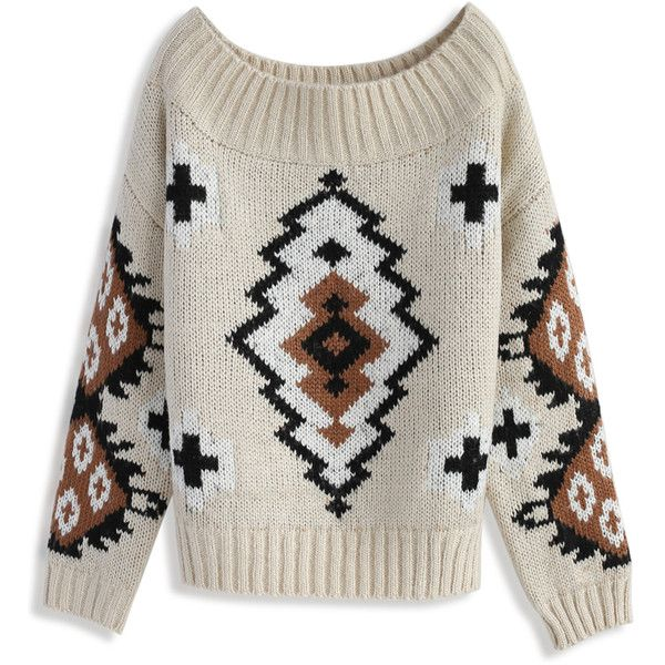 Chicwish Aztec Dreams Off-shoulder Sweater ($59) ❤ liked on ...