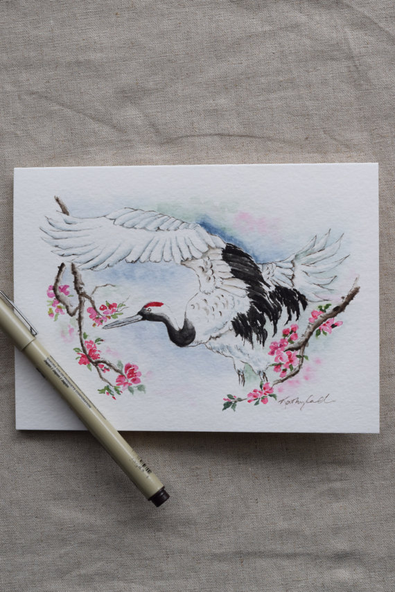 Beautiful Crane Flying Through Cherry Blossoms Watercolor