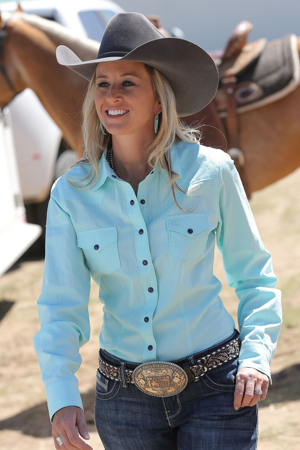 cinch women's long sleeve mylar snap up pearl weave mint