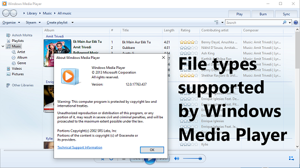 File Types Supported By Windows Media Player Windows Supportive Music Library