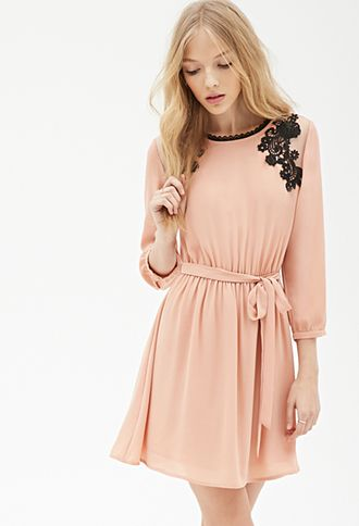 Crochet Embroidered Chiffon Dress Forever21 2000058646