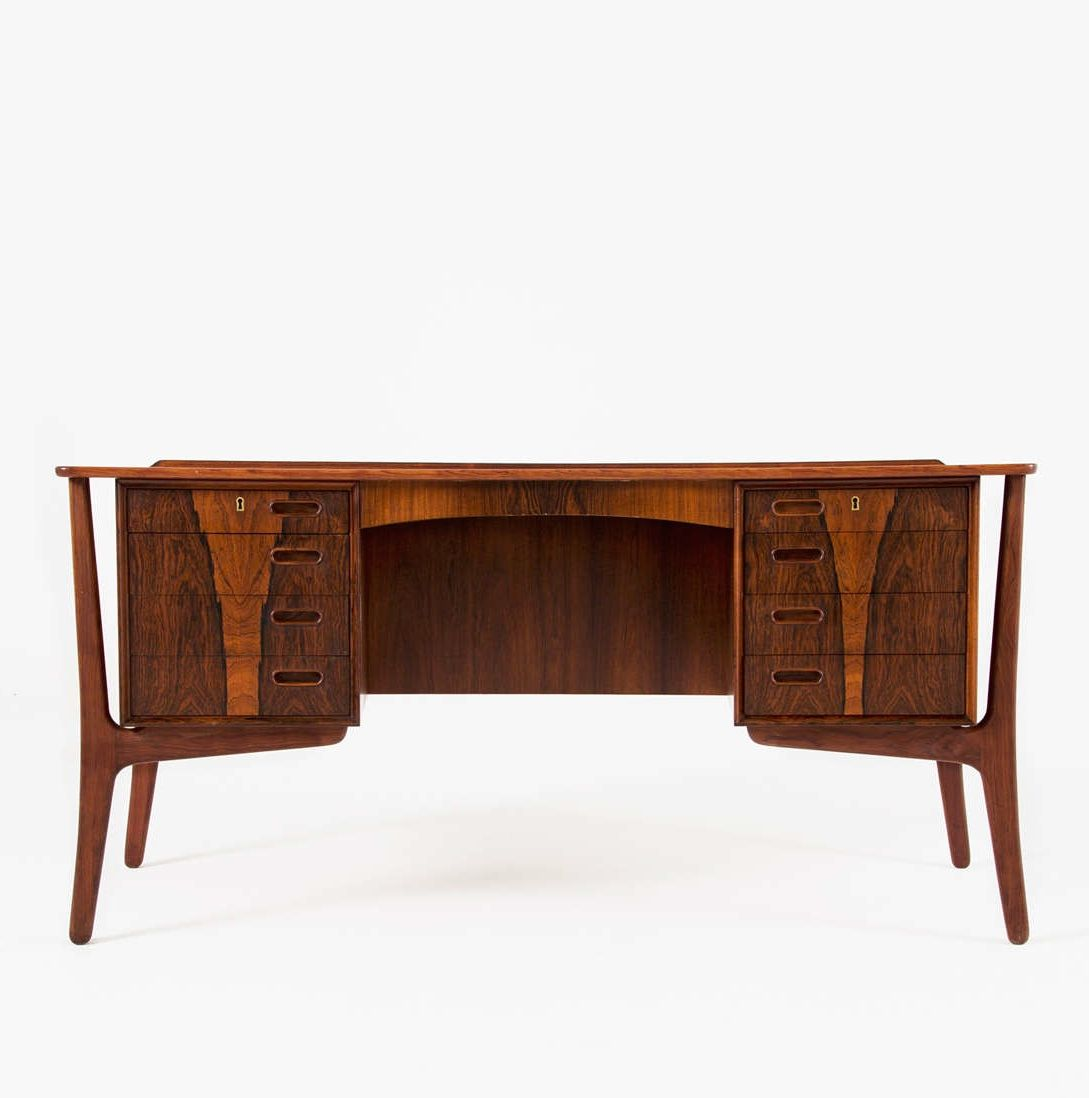 Svend Aage Madsen; Rosewood and Brass Desk for H.P. Hansen, 1960s ...