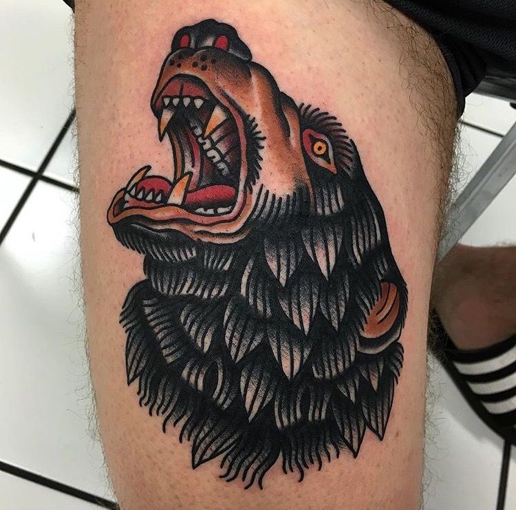 Traditional bear done on me today by jonathan montalvo in for Tattoo san marcos