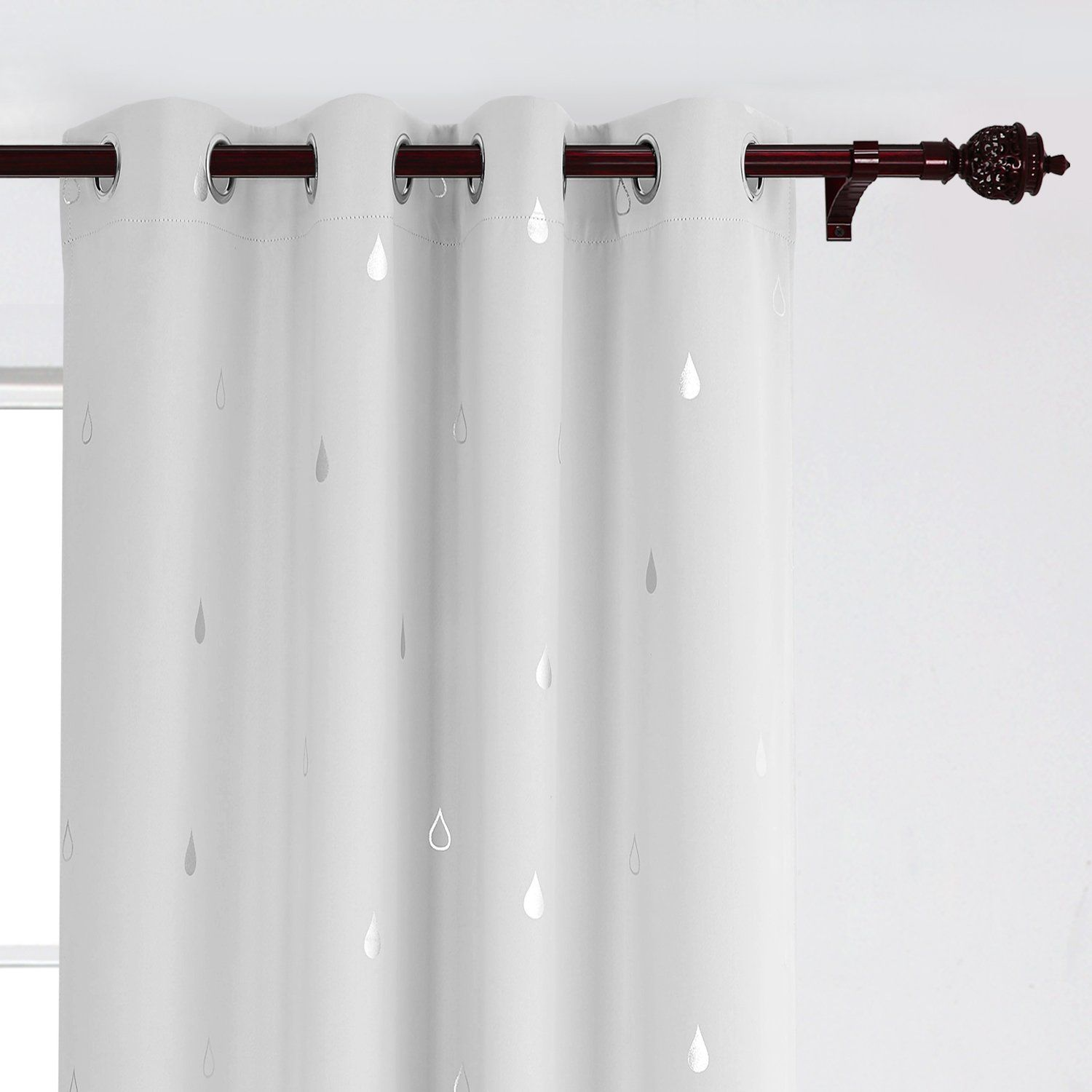 Deconovo Silver Raindrops Foil Print Grommet Blackout Curtains