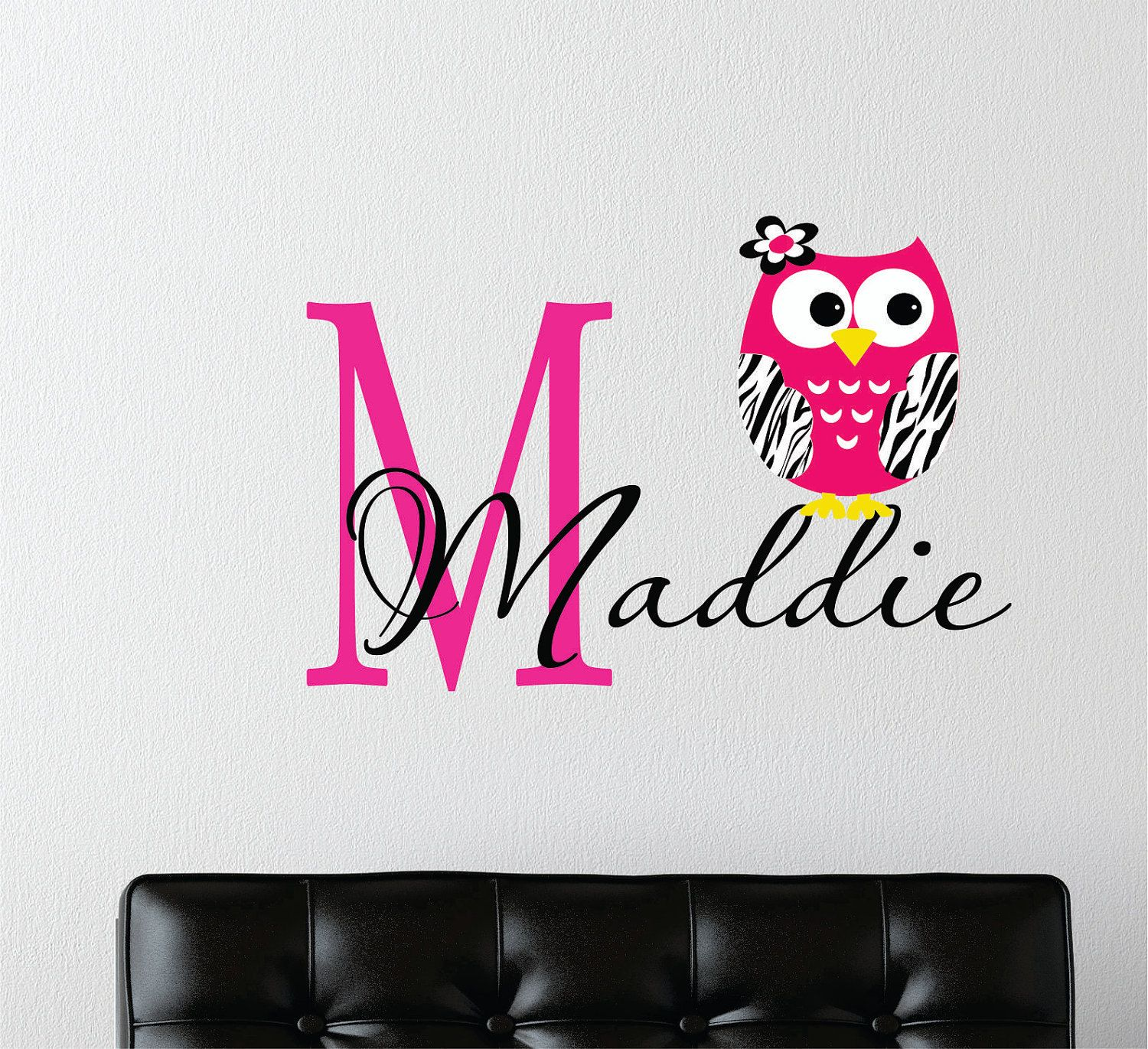 Modern Vinyl Wall Art Zebra Print Owl Wall Decal Custom Name Owl Nursery