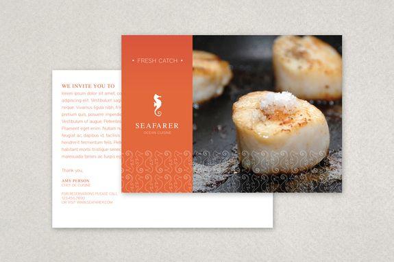 Seafood Restaurant Postcard Template  Postcard Design Templates