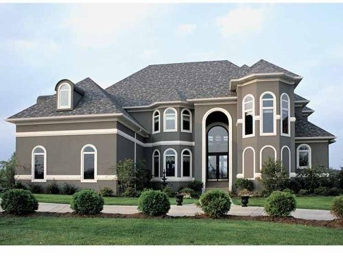 Gray Stucco Exterior House Paint Colors Dark With Trim