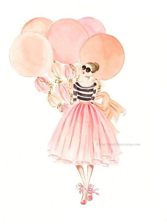 Photo of Custom fashion illustration watercolor portrait, fashion sketch lifestyle interior design painting artwork watercolor portrait of Reani