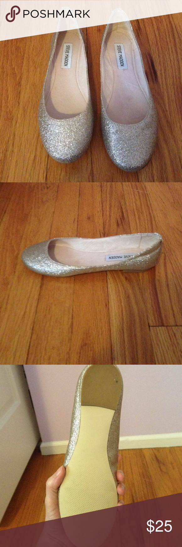 Adorable Sparkly Silver/Gold Steve Madden Flats Near perfect condition! A little bit of stretch on the side of the shoe as you can see in the last picture. Only worn a handful of times. Whether shoes appear to be silver or gold depends on the lighting. Everything in my closet is buy 1, get 1 30% off. I'm also open to negotiation and trades. Steve Madden Shoes Flats & Loafers