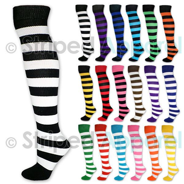 594dc148c3d Striped Knee High Tube Socks Black White Neon Pink Red Blue Purple Green  Stripe  AJs  KneeHigh
