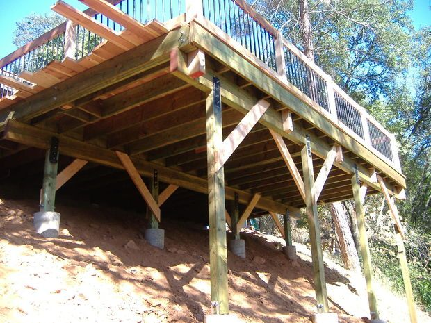 Building a 24 39 x 20 39 deck on steep slope deck lodge for Building a house on a slope