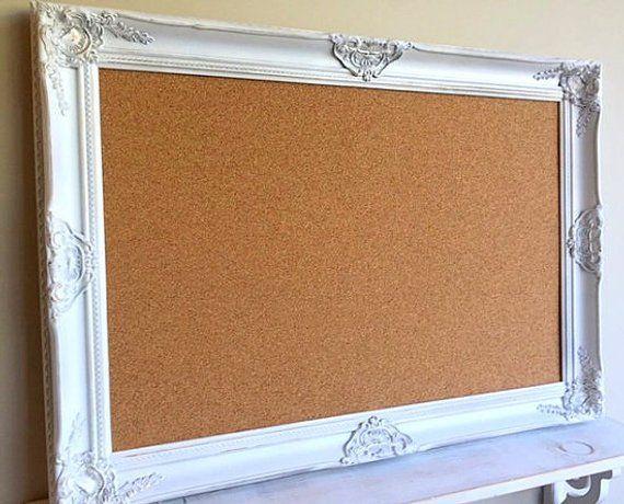 Decorative CORK BOARD Corkboard Framed PINBOARD Distressed ...