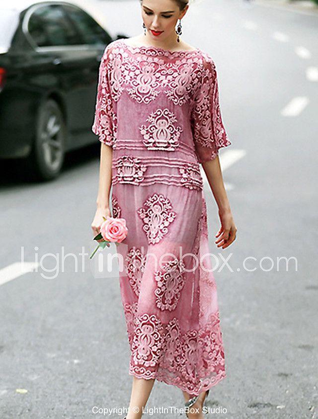 Mujer Bonito Línea A Vestido Bordado Midi   Pinterest   Escote, Seda ...