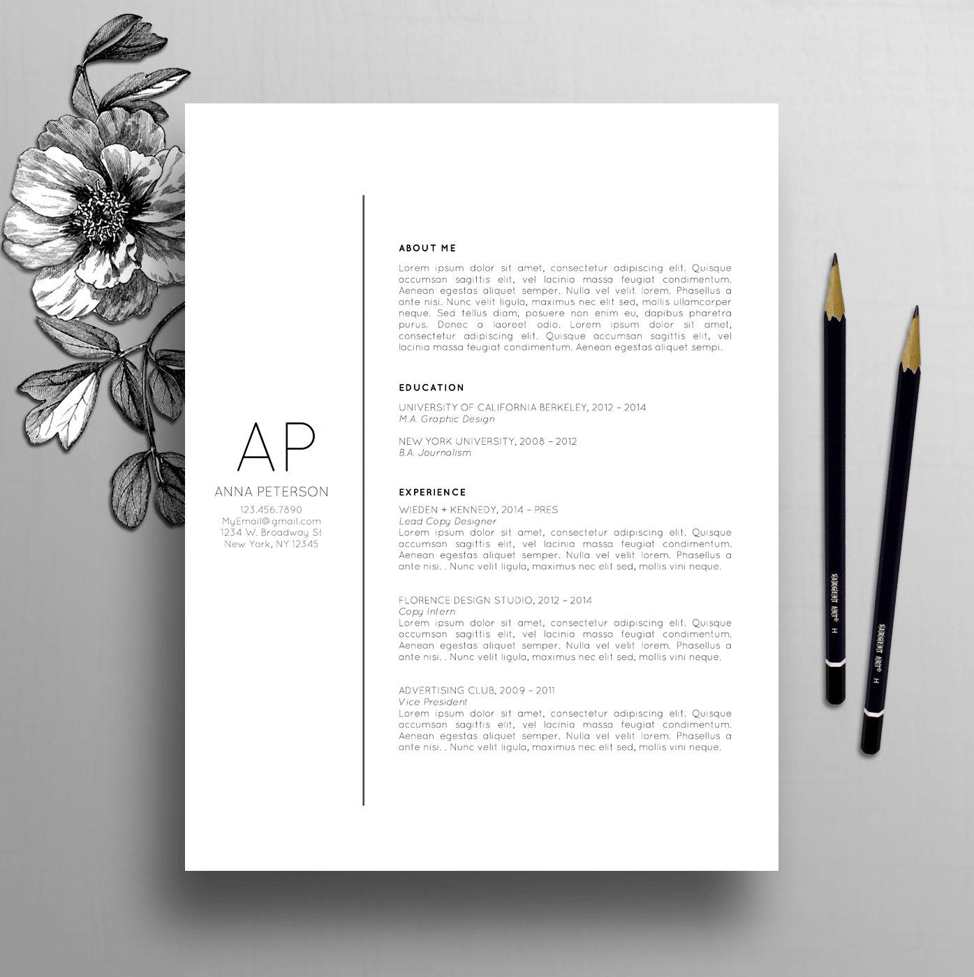 Professional Resume Template, Cover Letter Template, References ...