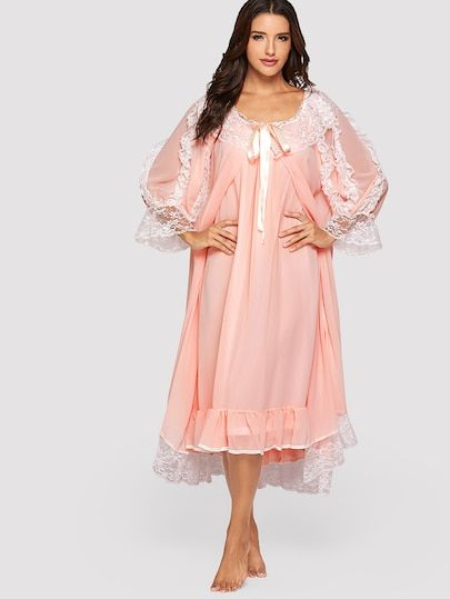 b9edb95968 Shop Ruffle Hem Mesh Night Dress With Robe online. SheIn offers Ruffle Hem  Mesh Night Dress With Robe   more to fit your fashionable needs.