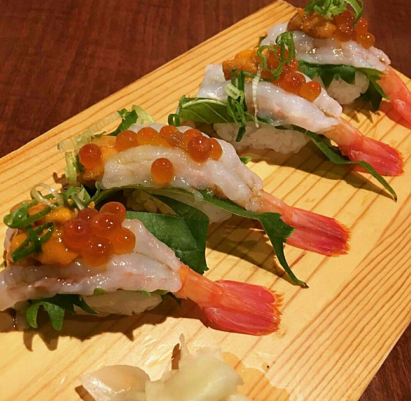 Raw Shrimp Roes Urchin Yummmmy Sashimi Sushi For Reference
