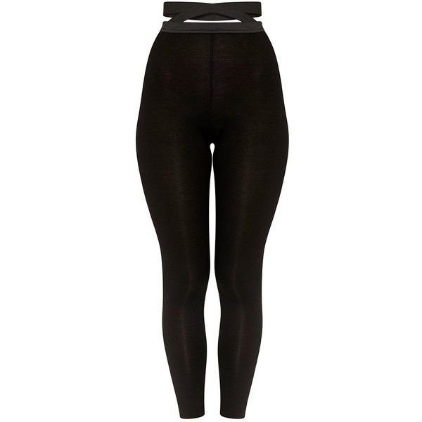 72368f955088c Favianna Black Strappy Waist Leggings ❤ liked on Polyvore featuring pants,  leggings, strap pants, legging pants and strappy pants