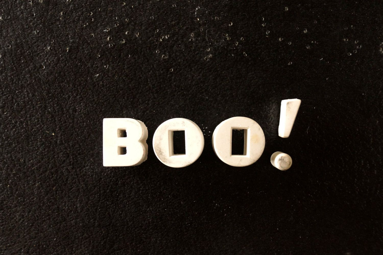 "Vintage White Ceramic Push Pins ""BOO!"" (c.1940s)"