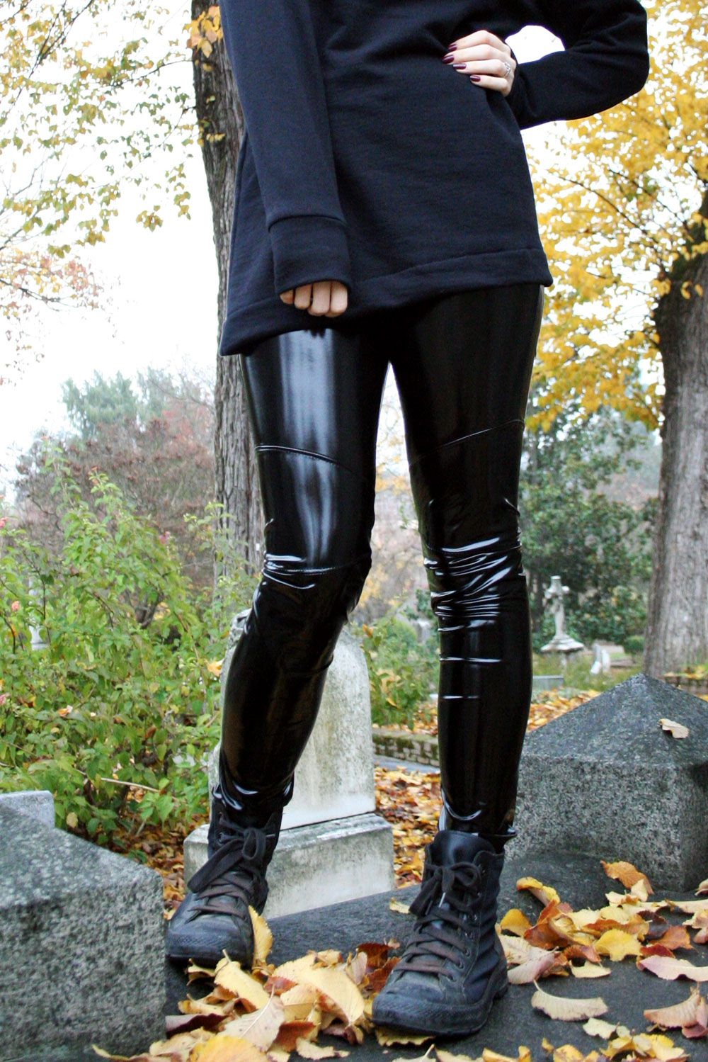 f1363ba7368 Black Stretch Vinyl Leggings handmade by Deranged Designs in size XS to  3XL. Plus size goth gothic clothing stretch pants vinyl spandex latex-look