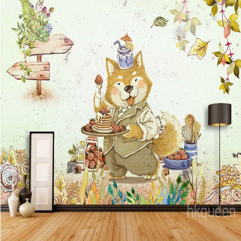 Scandinavian Retro Fashion Animal Strawberry Cake Leaf Backdrop Bedroom Wallpaper 3D Custom Living Room Lobby Mural