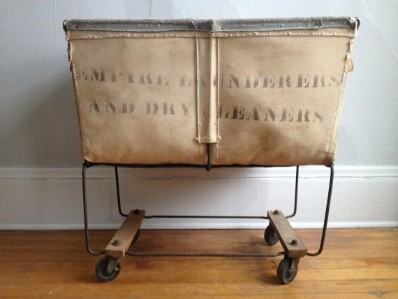 On Sale Vintage Industrial Canvas Laundry Cart Laundry Cart Vintage Laundry Laundry Decor