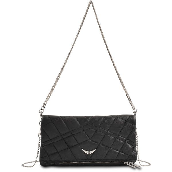 Zadig & Voltaire Clutch Rock Metallic (€415) ❤ liked on Polyvore featuring bags, handbags, clutches, väskor, black, black clutches, metallic clutches, rock purses, chain handle handbags and chain strap purse
