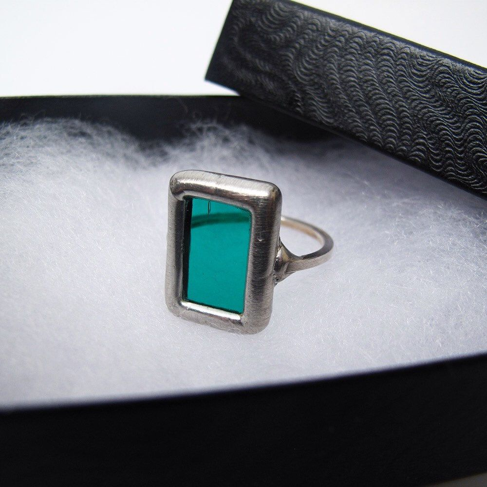 "Cute teal blue stained glass ring shipped to Massachusetts! My ""Aqua Crossing"" earrings feature the same teal colored glass."
