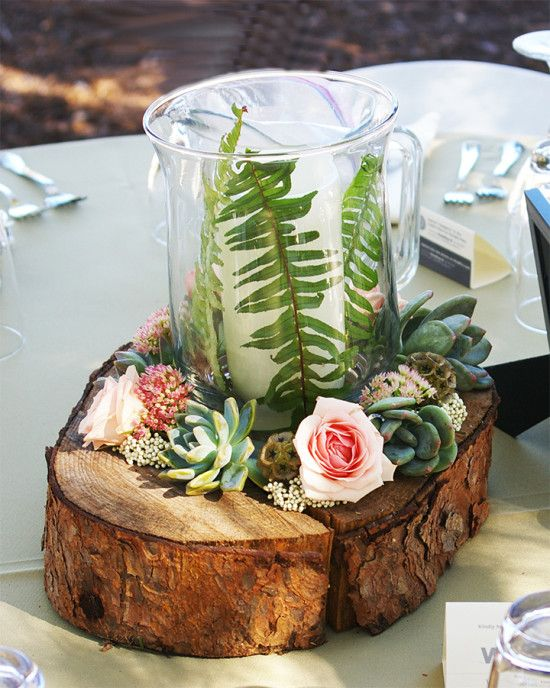 DIY stump and succulent centerpieces. Design Intervention