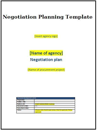 negotiation planning templates 2 printable word excel formats